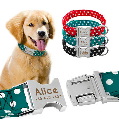 Nylon Personalized Dog Collar with Customized Name Plate for Breeds Dogs S M L
