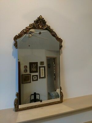 Antique Art Deco Gold Gilded Ornate Wood & Gesso Vintage Empire Wall Mirror