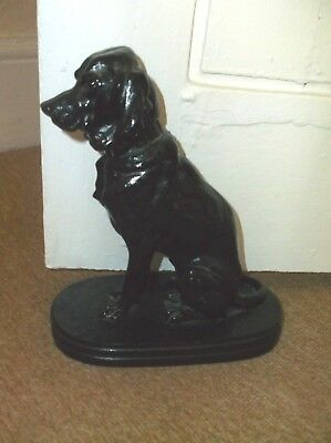 Very Rare Antique 19Th Century Large Cast Iron Doorstop Of A Sitting Hound Dog