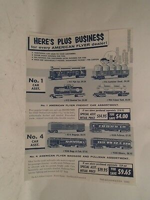 Original 1955 American Flyer Sell Sheet D1821 Of S Scale Car Asortment Sale Mint