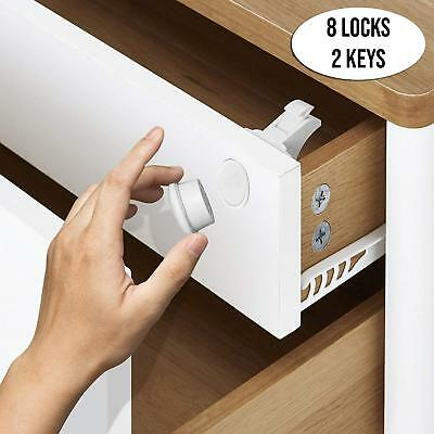 8 Pack Invisible Magnetic Child Pet Baby Proof Lock Cupboard Drawer Safety Draw
