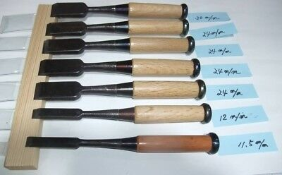 Japanese Unused Chisel Nomi with Sign Set of 7 Carpentry Tool Japan Blade