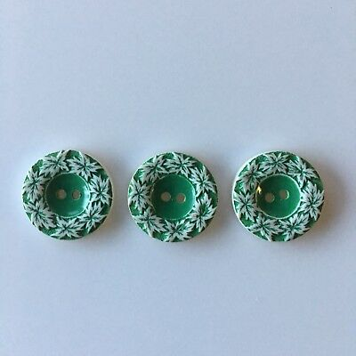 Vintage Buffed Celluloid Buttons Leaf Green Leaves 2 Hole Sew Thru Lot of 3