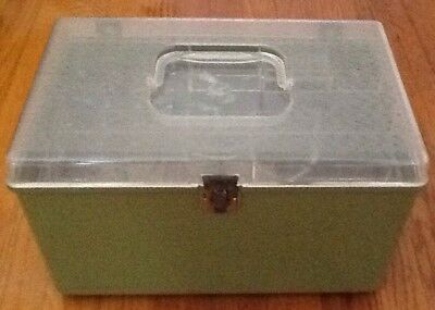Wilson Wil-hold Plastic Sewing Box With 2 Clear Removable Trays Avocado