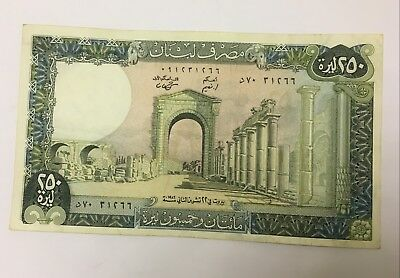 Lebanon 1983 250 Livres Old Banknote Paper Money Currency Bill Note