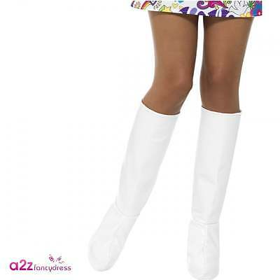 Womens Ladies 60s 1960s GoGo White Boot Covers Adult Disco Fancy Dress Accessory