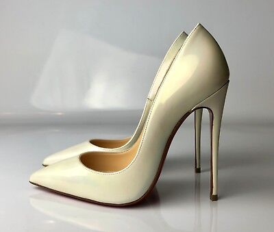 best service 78a25 77126 CHRISTIAN LOUBOUTIN SO Kate 120 Patent AB White Pearl Wedding Heels Pumps  35.5