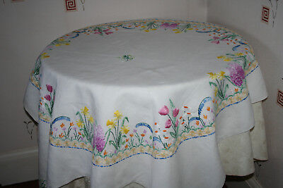 Exquisite Vintage Hand Embroidered Spring Flowers Tablecloth.