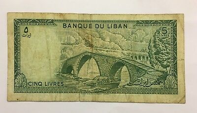 Lebanon 1978 5 Livres Old Banknote Paper Money Currency Bill Note