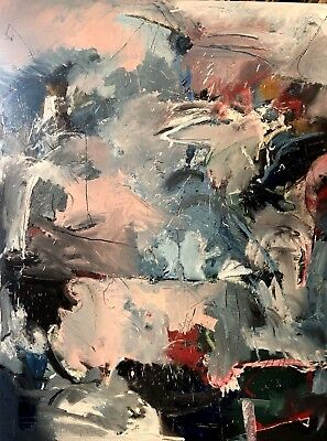 """Giant Fine Art Abstract Oil Painting On Canvas """"Blue Lemon"""" by Richard Protovin"""