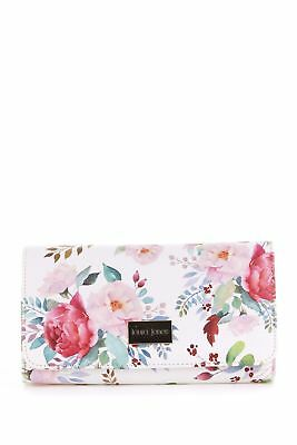 New Laura Jones Renee Floral Large Large Womens Purse Wallet White Multi
