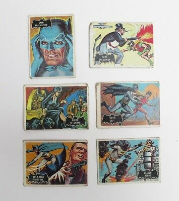 Vintage 1966 Batman Cards Lot Of 6 #7,19, 26,28, 32, 47