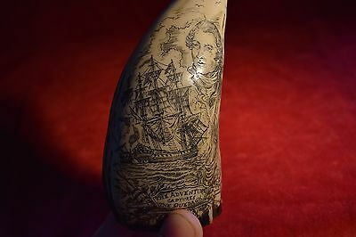 "Scrimshaw art  the  ""Adventure""  fantastic faux scrimshaw. Now reduced.  £11.99!"