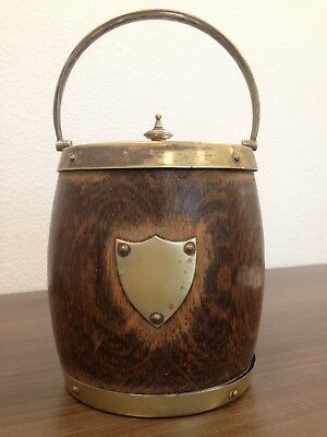 Antique Ice Bucket / Biscuit Barrel Oak and Porcelain EPN