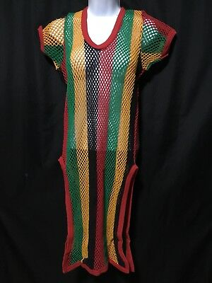 RASTA WOMENS LADIES Roots Caribbean Style Cotton Mesh Dress ...