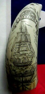 "faux scrimshaw  ""The Ship Mercury""  highly detailed miniature tooth..Rsp £20+..."