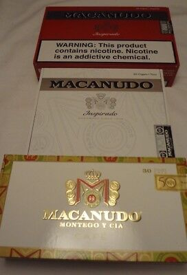 MACANUDO  lot of 3 Wooden Cigar Boxes  Empty Lot # 156
