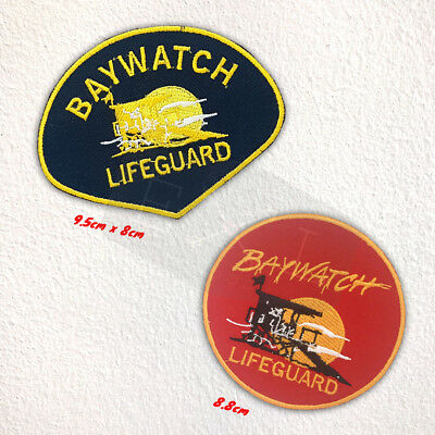 2f3c20253b47 BAYWATCH LIFEGUARD BADGE Iron or Sew on Embroidered Patch - £1.98 ...