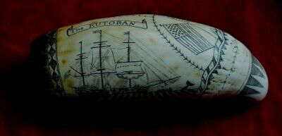 "faux-scrimshaw  ""The Kutoran""  superb. engraved by john Adams. SRP £24 ++++"