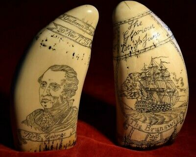 "Faux Scrimshaw matching pair    ""King George 3rd""  &  ""Admiral Howe"""