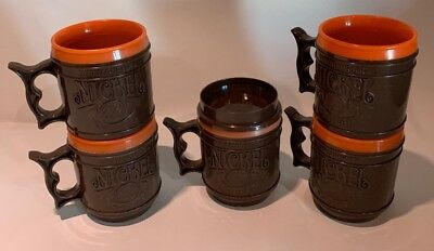 Five Vintage Whataburger Buffalo Nickel Plastic Coffee Travel Mugs Brown Orange