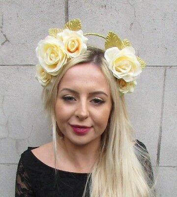 Lemon Light Yellow Gold Rose Flower Halo Fascinator Races Hair Headband 6824