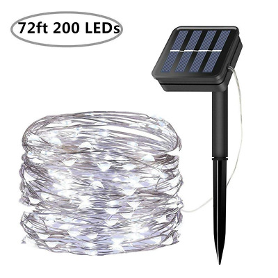 Solar String Lights 200 LED Fairy Lamps 72 Ft Waterproof Outdoor Garden Decor US