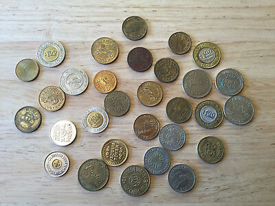 Lot of 30 Car Wash Tokens - All Different