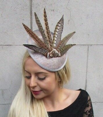 Grey Brown Pheasant Feather Disc Saucer Hat Fascinator Hair Races Ascot Vtg 6827