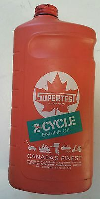 """Rare Canadian Snowmobile """"supertest 2 Cycle Oil"""" 40 Oz Outboard, Etc. -  Empty"""