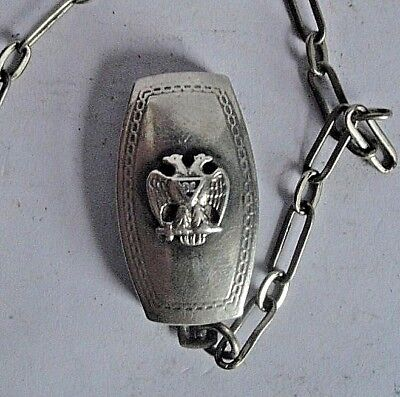 VINTAGE 32nd DEGREE MASONIC WATCH FOB & CHAIN HICKOK HM QUALITY STERLING SILVER.