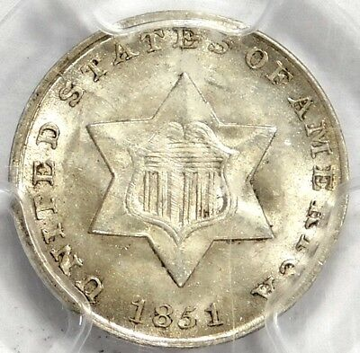 Cac Pcgs Ms64 1851 3 Cent Silver