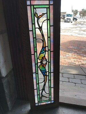 SG 2729 antique Stainglass transom window whimsical dolphin chunk Jewel center