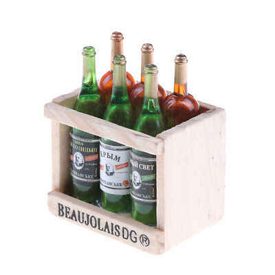 6 Wine Juice Bottles With Wooden Miniature Kitchen Drink Toy Dollhouse GiftPLF