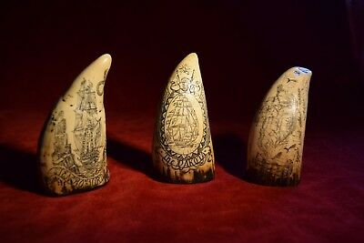 "faux  scrimshaw  ""Three miniature teeth"" highly detailed engraving. Srp £36+++++"