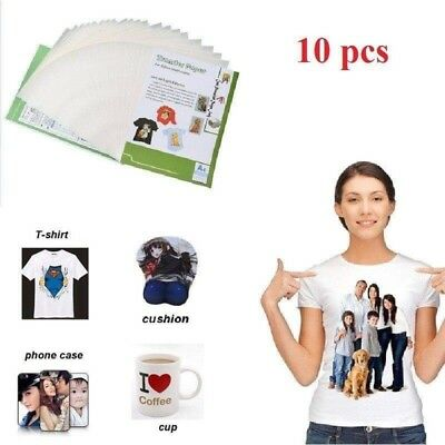 9 Sheets A4 Sublimation Heat Transfer Paper for Fabric Cotton T-Shirt Print UK