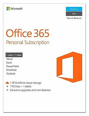 Microsoft Office 365 Personal 1 Year Subscription for 1 User PC/Mac Key card