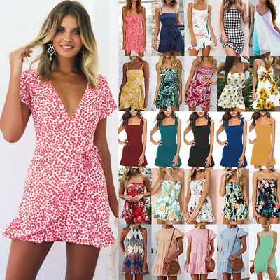 Womens Floral Boho Mini Swing Dress Short Summer Holiday Party Cocktail Sundress