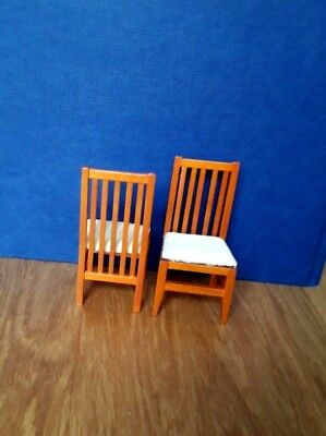 Dolls House Furniture:  Set of Two Wooden Chairs in 12th scale