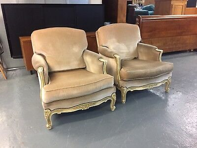 Pair Vintage Antique French Louis Style Mid Century Chesterfield Armchairs M2929
