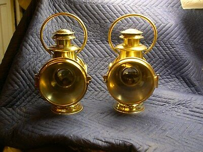 Reduced!  Neverout Brass Bail Handle Side Lamps