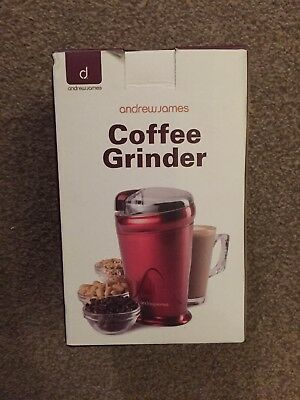 Andrew James AJ000566 Electric Coffee Bean Nuts Spices Grinder 150W - Red