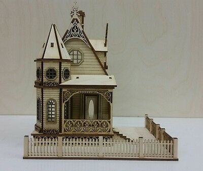 """1:48 or 1/4"""" Scale Jasmine Gothic Victorian Cottage Dollhouse Kit 0000399"""
