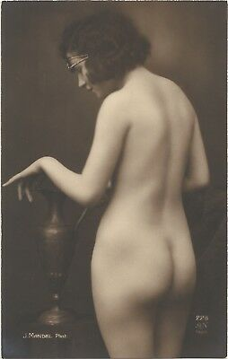 Rare original old French real photo postcard Art Deco nude study 1920s RPPC #407