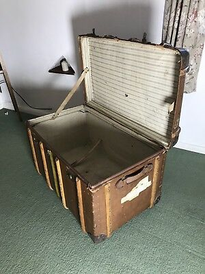 Vintage Railway / Steamer Storage Trunk ( Tidworth )