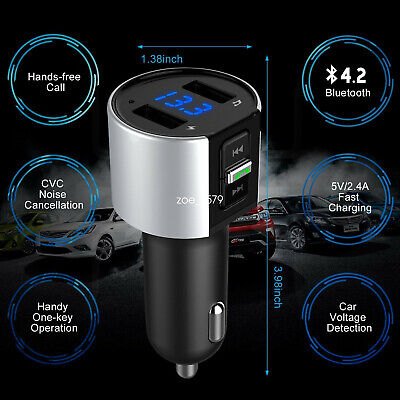 Bluetooth In-Car MP3 FM Wireless Transmitter Dual USB LCD Charger Handsfree uk