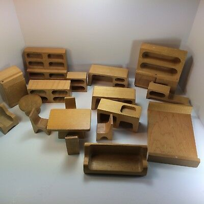 Lot of Vintage Wooden Creative Playthings Dollhouse Furniture Livingroom Kitchen