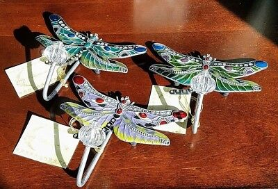 (3) Dragonfly Butterfly Wall Decor Hooks Wall Hook Decorative Hooks Coat Towel