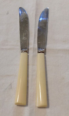2 Antique Dining Knives Silver Plate Cream Celluloid Handle Walker & Hall GC
