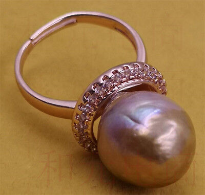 Adjustable Luxury Natural HUGE 13-14MM purple pink pearl ring 18K Cultured party